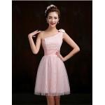 Short/Mini Lace Bridesmaid Dress - Blushing Pink / Lilac A-line One Shoulder Bridesmaid Dresses