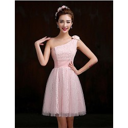 Short Mini Lace Bridesmaid Dress Blushing Pink Lilac A Line One Shoulder
