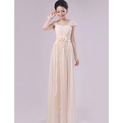 Floor-length Chiffon Bridesmaid Dress - Champagne Sheath/Column Scalloped