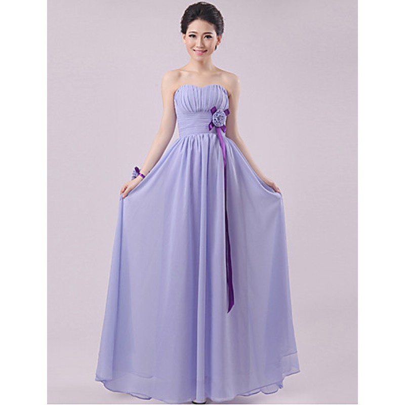 Floor-length Chiffon Bridesmaid Dress - Lavender Sheath/Column ...