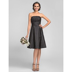 Knee Length Taffeta Bridesmaid Dress Black Plus Sizes Petite A Line Princess Strapless
