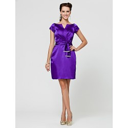 Knee-length Stretch Satin Bridesmaid Dress - Regency Plus Sizes / Petite Sheath/Column V-neck / Notched