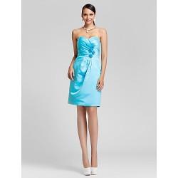 Knee Length Satin Bridesmaid Dress Pool Plus Sizes Petite Sheath Column Sweetheart Strapless