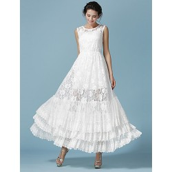 Ankle-length Lace Bridesmaid Dress - White Ball Gown Jewel