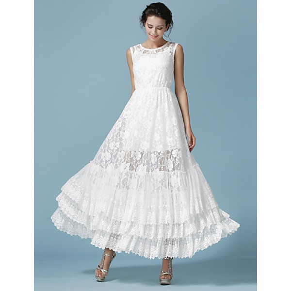 Ankle-length Lace Bridesmaid Dress - White Ball Gown Jewel Bridesmaid Dresses
