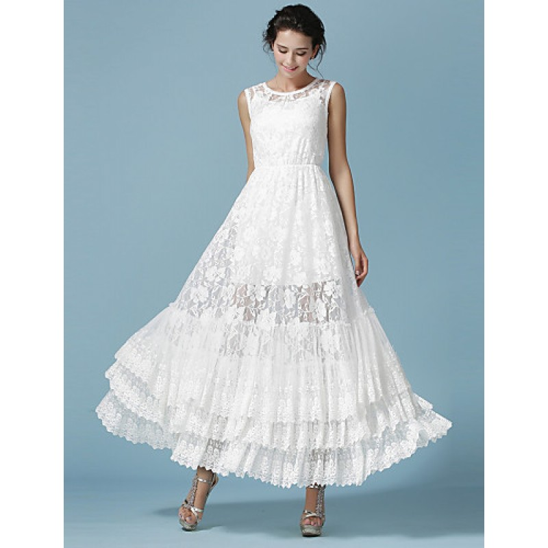 Ankle Length Lace Bridesmaid Dress White Ball Gown Jewel Cheap Uk Dresses Online Shop Chicdresses Co Uk,Dress To Wear To A Wedding In November