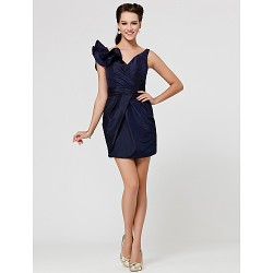 Short/Mini Taffeta Bridesmaid Dress - Dark Navy Plus Sizes / Petite Sheath/Column V-neck