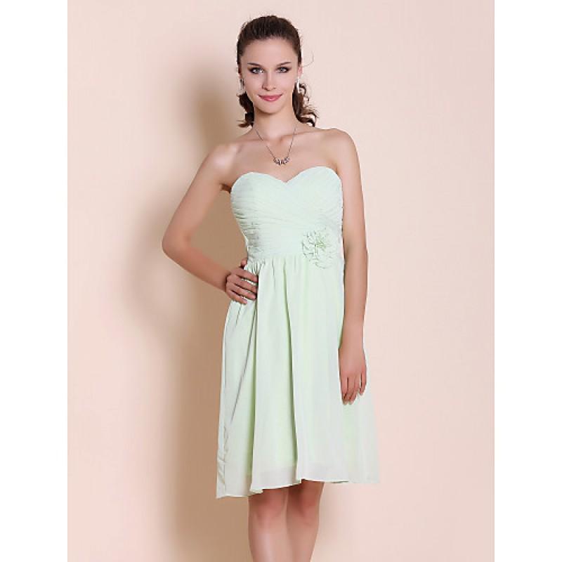 36ece6a3abce Knee-length Chiffon Bridesmaid Dress - Sage Plus Sizes / Petite  Sheath/Column Strapless