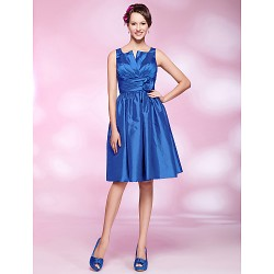 Cocktail Party Dress Royal Blue Plus Sizes Petite A Line Princess Straps Notched Knee Length Taffeta