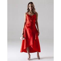 Tea Length Asymmetrical Stretch Satin Bridesmaid Dress Ruby Plus Sizes Petite A Line Spaghetti Straps