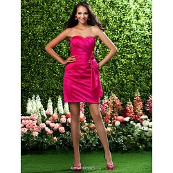 Short Mini Taffeta Bridesmaid Dress Fuchsia Plus Sizes Petite Sheath Column Sweetheart Strapless