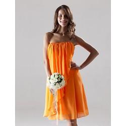 Knee-length Chiffon Bridesmaid Dress - Orange Plus Sizes / Petite Sheath/Column Strapless