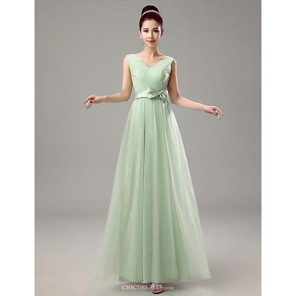 Dress - Clover Sheath/Column V-neck Floor-length Chiffon Bridesmaid Dresses