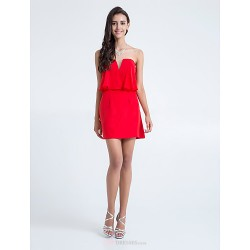 Short Mini Chiffon Bridesmaid Dress Ruby Plus Sizes Petite Sheath Column Strapless