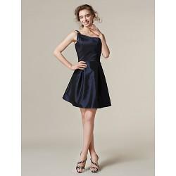 Short/Mini Taffeta Bridesmaid Dress - Dark Navy Plus Sizes / Petite A-line / Princess One Shoulder
