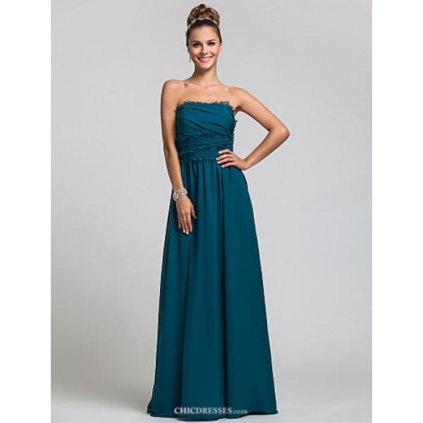 Wedding Party / Formal Evening / Military Ball Dress - Ink Blue Plus Sizes / Petite Sheath/Column Strapless Floor-length Chiffon Bridesmaid Dresses