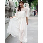 Ankle-length Chiffon / Lace Bridesmaid Dress - White A-line Jewel Bridesmaid Dresses