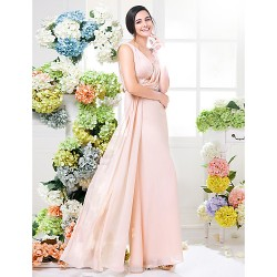 Floor Length Chiffon Bridesmaid Dress Pearl Pink Plus Sizes Petite Sheath Column V Neck