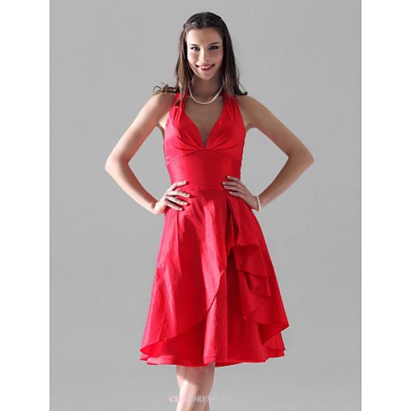 Knee-length Taffeta Bridesmaid Dress - Ruby Plus Sizes / Petite A-line / Princess Halter / V-neck Bridesmaid Dresses