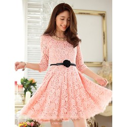 Knee Length Lace Bridesmaid Dress Pearl Pink Black A Line Scoop
