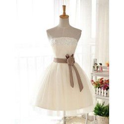 Knee-length Tulle / Stretch Satin Bridesmaid Dress - Ivory / Champagne Ball Gown Strapless
