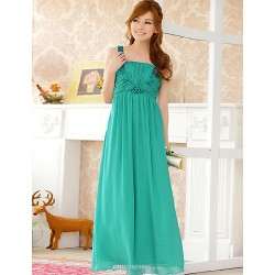 Engagement Party Dress - Pearl Pink / Jade / Black A-line Straps Floor-length Chiffon / Tulle