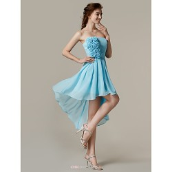 Asymmetrical Chiffon Bridesmaid Dress Sky Blue A Line Strapless