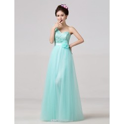 Floor-length Bridesmaid Dress - Sky Blue A-line One Shoulder