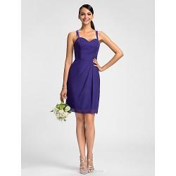 Dress Regency Plus Sizes Petite Sheath Column Spaghetti Straps Knee Length Chiffon