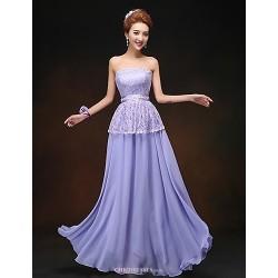 Floor-length Chiffon Bridesmaid Dress - Lavender Sheath/Column Strapless