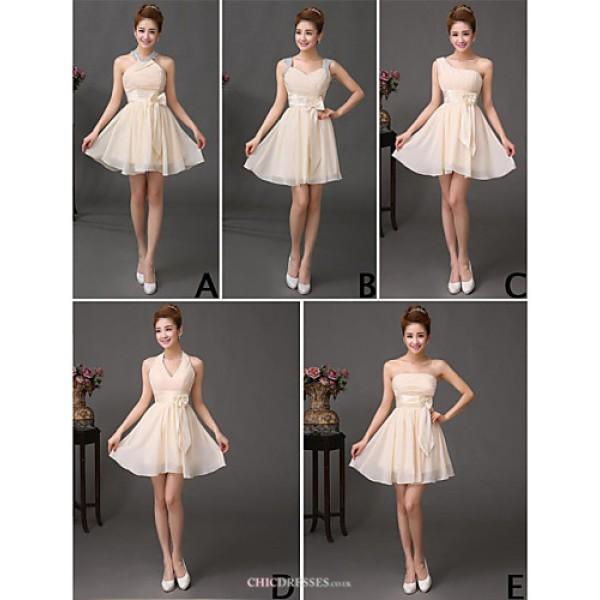 Mix & Match Dresses Short/Mini Chiffon 5 Styles Bridesmaid Dresses (3789824) Bridesmaid Dresses