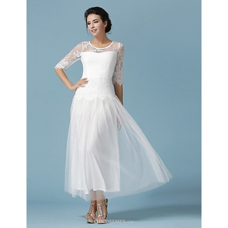 Ankle Length Lace Tulle Bridesmaid Dress White Ocean