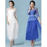Ankle-length Lace / Tulle Bridesmaid Dress - White / Ocean Blue Princess Scoop Bridesmaid Dresses