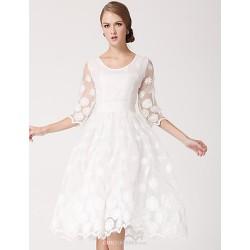 Knee Length Organza Bridesmaid Dress White Princess Scoop