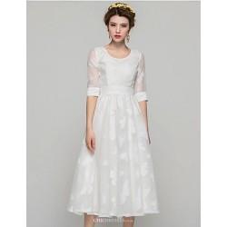 Knee Length Satin Chiffon Bridesmaid Dress White Princess Scoop