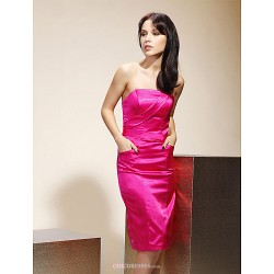 Knee-length Stretch Satin Bridesmaid Dress - Fuchsia Plus Sizes / Petite Sheath/Column Strapless