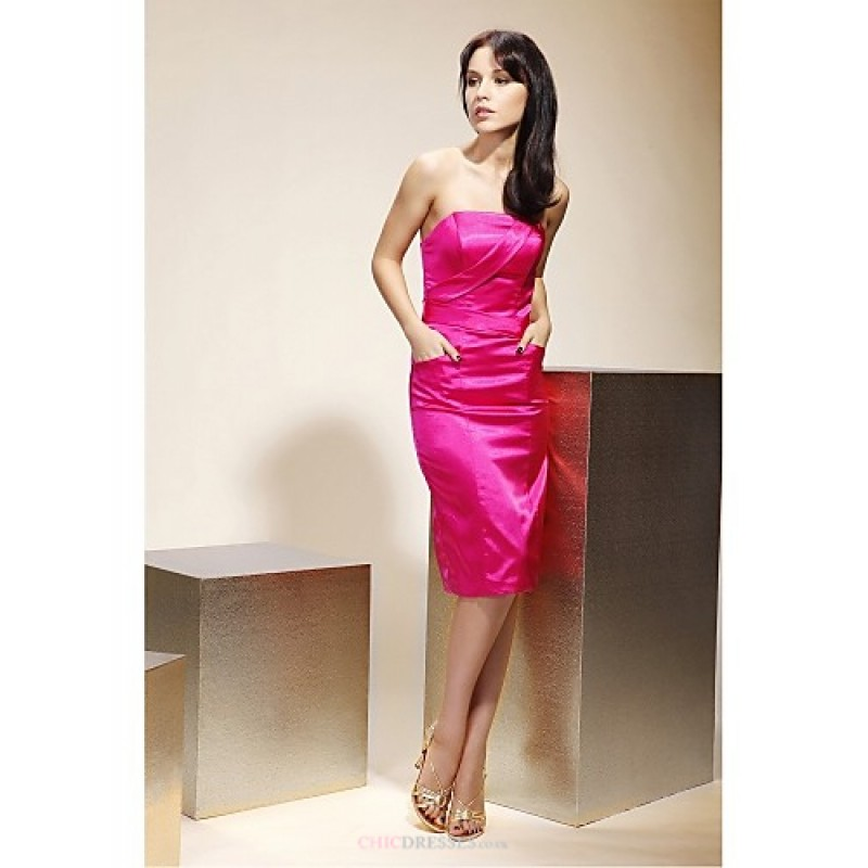 Knee Length Stretch Satin Bridesmaid Dress Fuchsia Plus