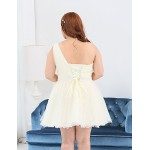 Short/Mini Polyester Bridesmaid Dress - Ivory Ball Gown One Shoulder Bridesmaid Dresses