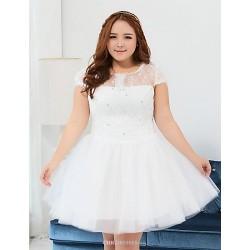 Short Mini Polyester Bridesmaid Dress Ivory Ball Gown Jewel