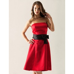 Knee Length Satin Bridesmaid Dress Ruby Plus Sizes Petite A Line Princess Strapless