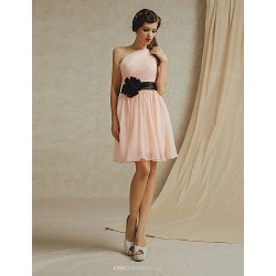 Knee Length Chiffon Bridesmaid Dress White Pearl Pink Sky Blue Champagne Lilac A Line One Shoulder
