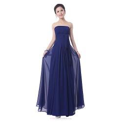 Floor Length Bridesmaid Dress Ruby Royal Blue Sheath Column Strapless