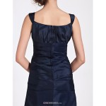 Tea-length Taffeta Bridesmaid Dress - Dark Navy Plus Sizes / Petite A-line / Princess Square Bridesmaid Dresses