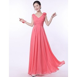 Floor Length Bridesmaid Dress Ruby A Line Straps