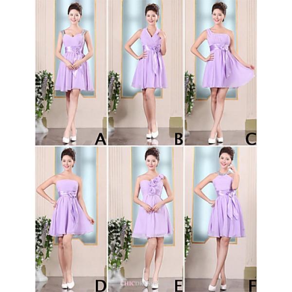Mix & Match Dresses Short/Mini Chiffon 6 Styles Bridesmaid Dresses (3789846) Bridesmaid Dresses
