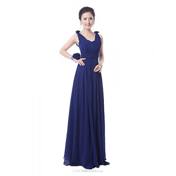 Floor-length Bridesmaid Dress - Ruby / Royal Blue Sheath/Column Straps Bridesmaid Dresses