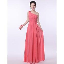 Floor-length Bridesmaid Dress - Watermelon Sheath/Column One Shoulder