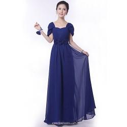 Floor-length Bridesmaid Dress - Royal Blue A-line Off-the-shoulder