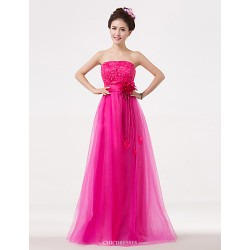 Floor Length Bridesmaid Dress Fuchsia A Line Strapless