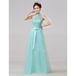 Floor Length Bridesmaid Dress Sky Blue A Line High Neck